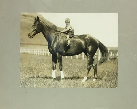 Bacchus Marsh World famous racehorse Phar Lap with little Gerald on his back who was the son of trainer Harry Telford, picture taken on a property at Bacchus Marsh. It was taken just prior to Phar Lap's trip to North America in November, 1931.
