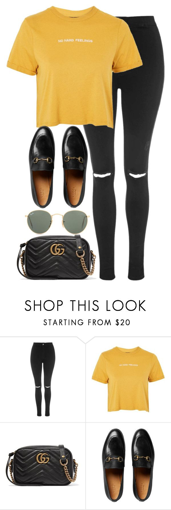 """Untitled #3321"" by elenaday on Polyvore featuring Topshop, Gucci and Ray-Ban"