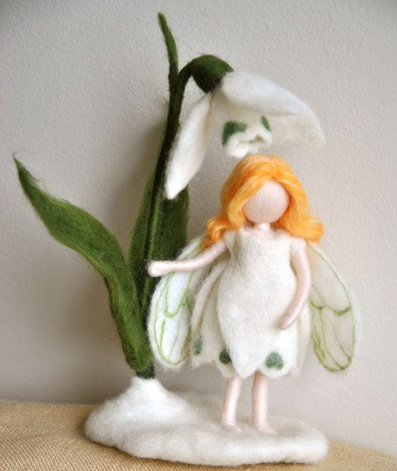 Flower Fairy Waldorf inspired needle felted doll: The Snowdrop