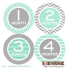 Baby Monthly Stickers FREE Baby Month Sticker Baby Month Milestone Stickers Neutral Boy Girl Bodysuit Stickers Chevron Mint Grey 072N by AppleEyeBabyShop on Etsy https://www.etsy.com/listing/219509776/baby-monthly-stickers-free-baby-month