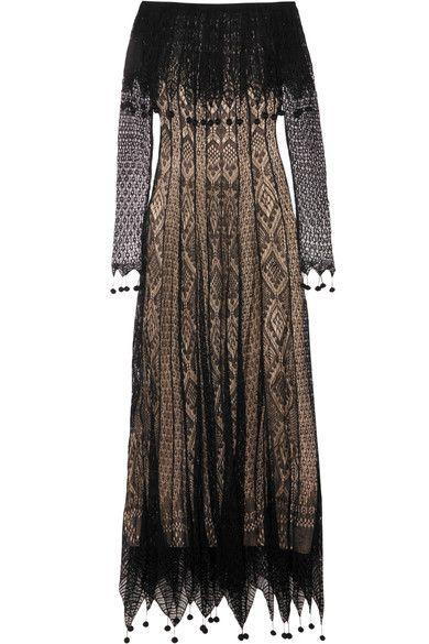 Alexander McQueen - Off-the-shoulder Pompom-trimmed Silk-lace Maxi Dress - Black -