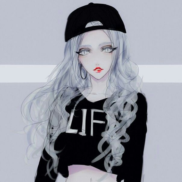 """A cute girl.... wearing a long selves shirt that says """"LIFE,"""" she has that cool style that looks for a party tonight."""