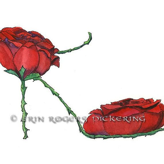 Valentine Rose Stiletto Shoe art 5x7 print by eringopaint on Etsy, $17.00