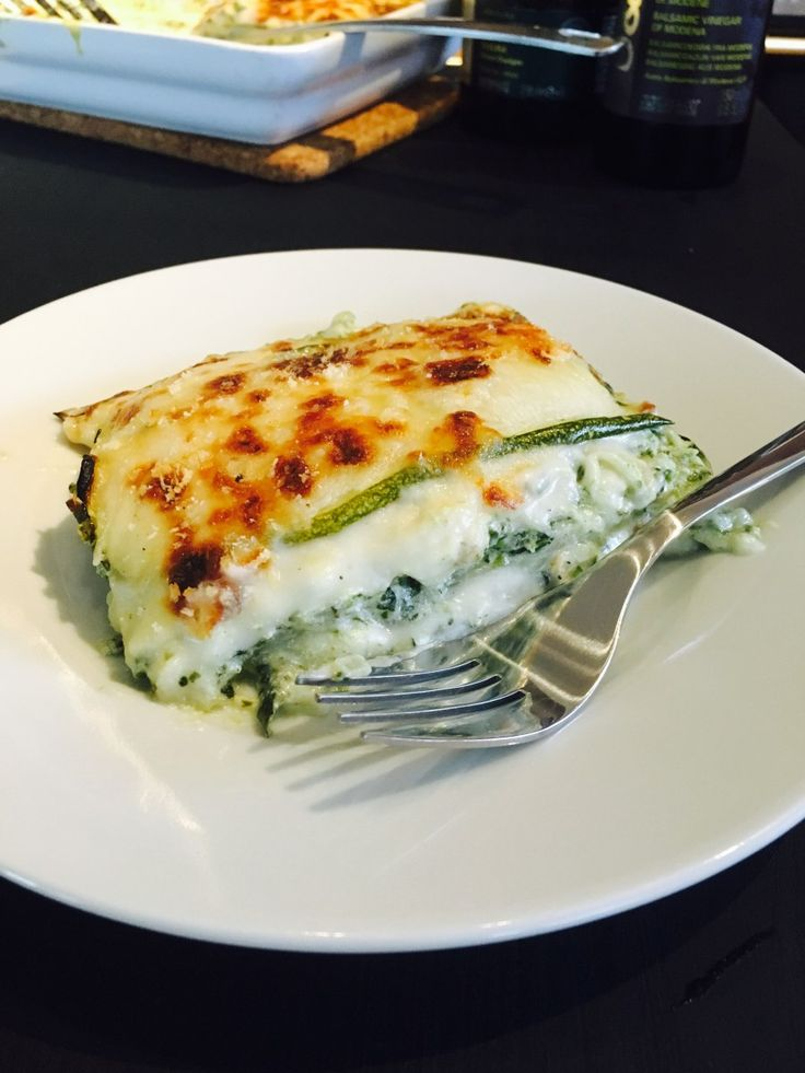 Ricotta, spinach and bacon courgettes lasagna