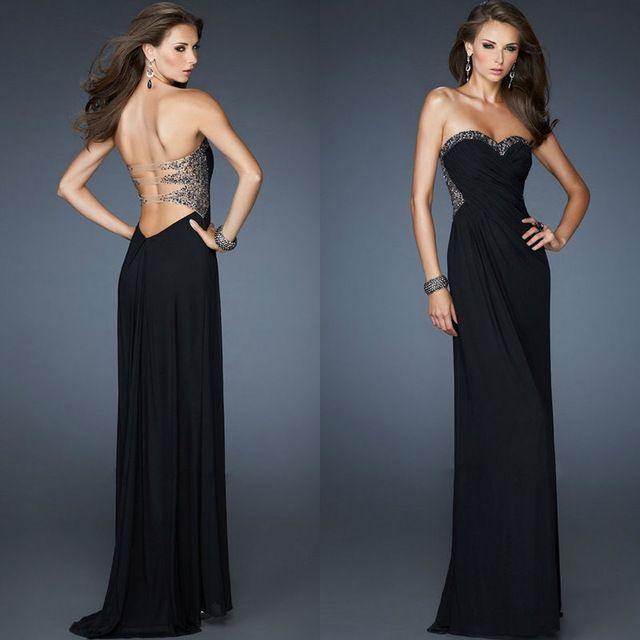 Sequin Transparante Terug Een Lijn Alle In Zwart Fashion Floor Lengte Sweetheart Avondjurken 2013 Custom Prom Suit Sexy Jurk