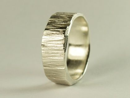 Wide bark textured ring in Sterling Silver