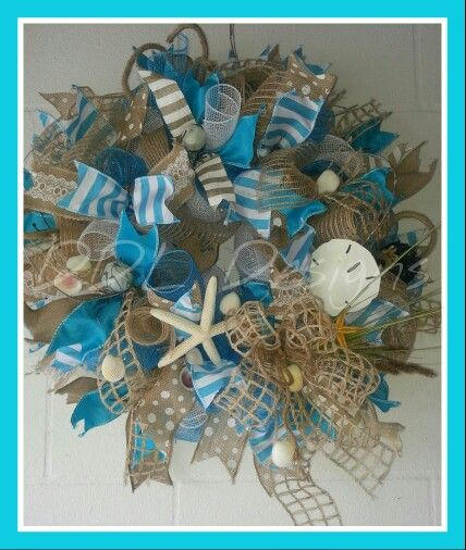 """ Sea shells by the sea shore "" Beach themed wreath DDL Designs Https://Facebook.com/ddldesigns"