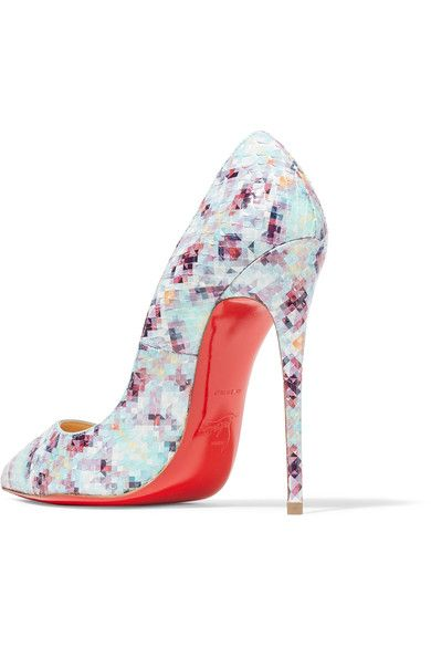 Christian Louboutin - Pigalle Follies 120 Printed Python Pumps - Sky blue - IT36.5