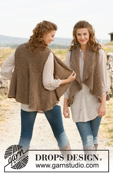 "Free pattern: DROPS vest knitted in a circle in ""Alpaca Bouclé."" Size: S - XXXL. ~ DROPS Design"