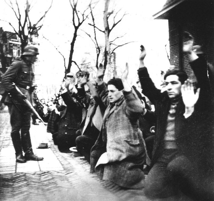 2.22.1941 - The first raid in the Jewish quarter. Amsterdam Jews were herded on the Jonas Daniel Meijer Square. On 19 February 1941, the Grüne Polizei raided IJssalon Koco in Amsterdam-South. The owners defended themselves by spraying ammonia on the invaders. As retaliation 425 Jewish men between 20 and 35 years were on 22 and 23 arrested February and transported to the Mauthausen concentration camp.