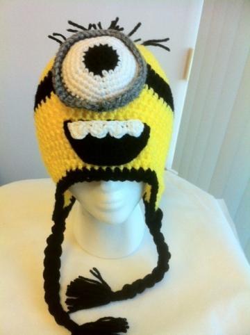 Hand Crochet Despicable Me One Eye Minion Hat Beanie