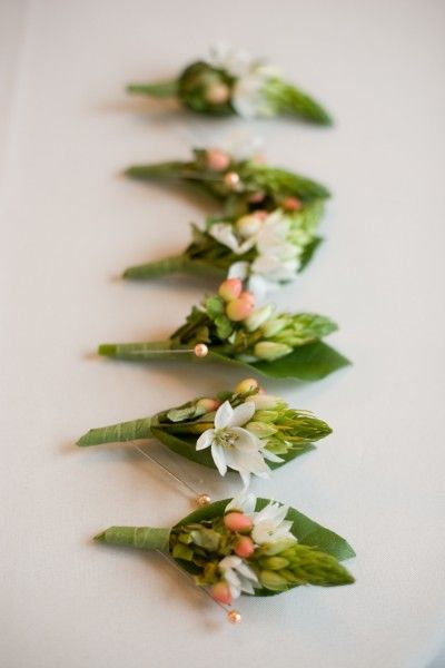 Boutineers- with foliage, barberry & hawaiin stephanotis