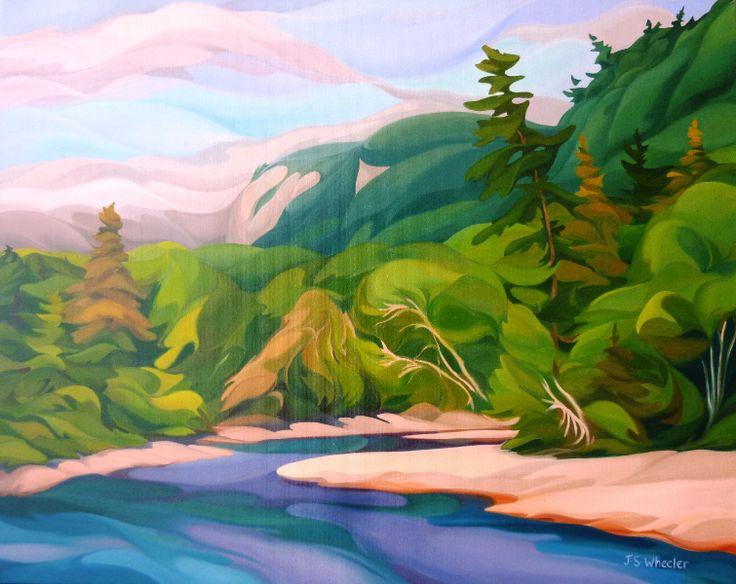 "Hiking to Agawa Falls, 24"" x 30"", oil on canvas, $2,300.00 - NA"
