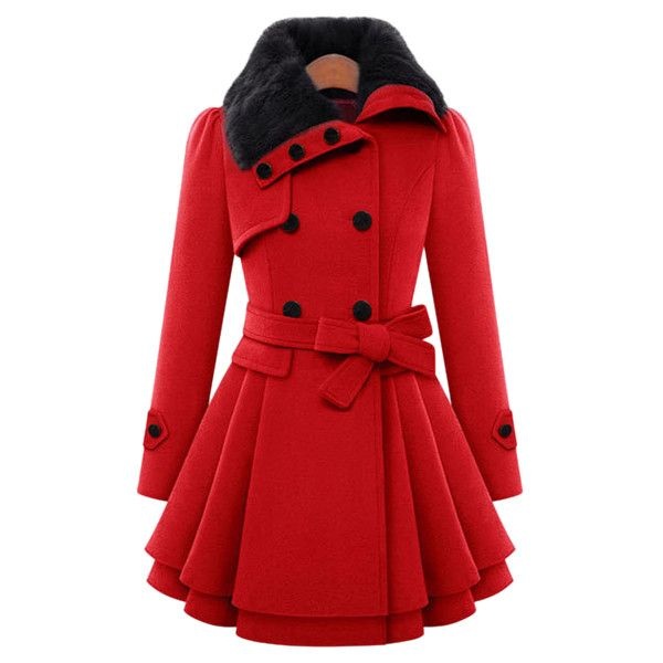 Stylish Turn Down Neck Long Sleeve Spliced Button Design Lace Up Women... (£39) ❤ liked on Polyvore featuring outerwear, coats, jackets, tops, red, button coat, red coat and long sleeve coat