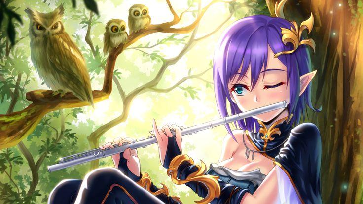 anime meninas, coruja, flauta, orelhas dos elfos, cabelo roxo, duendes