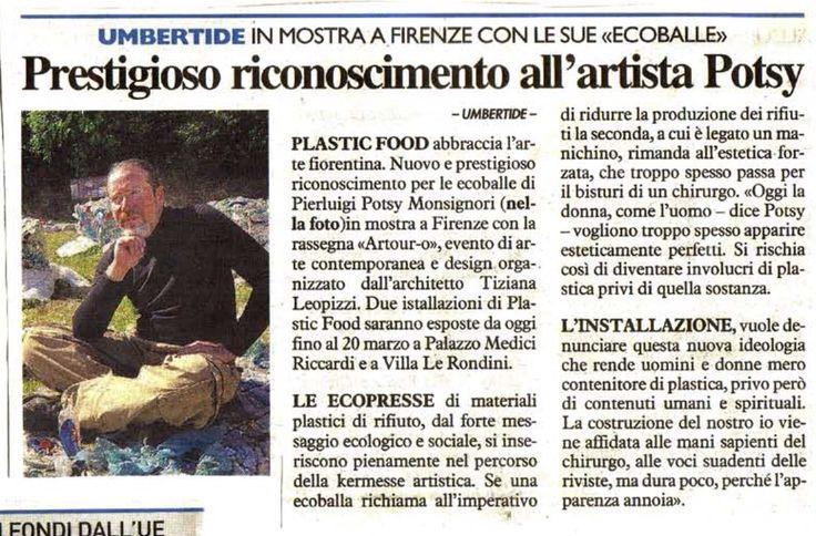 La Nazione, Plastic Food a Firenze con Artour-o, articolo del giornalista Paolo Ippoliti @Ecodallecitta @2EWWR @EnviInfo @eHabitatit @menoRifiuti @SERR2014
