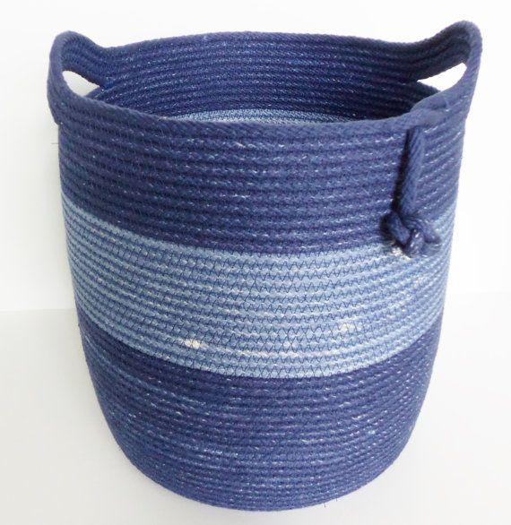 Denim Blue Coiled Basket
