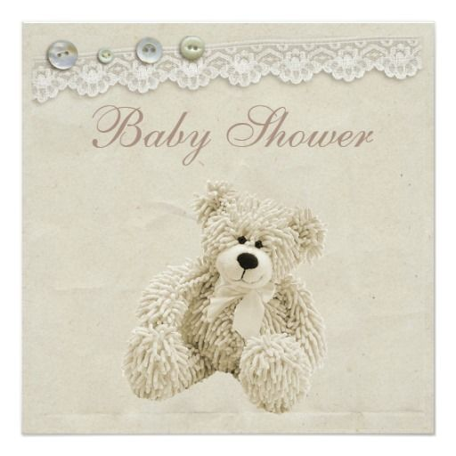 Neutral Teddy Bear Vintage Lace Baby Shower 5.25x5.25 Square Paper Invitation Card