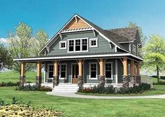 This gorgeous Craftsman house plan comes with a wrap-around porch in front, a grilling deck on the side and a big covered porch in back.The open layout appeals to many homeowners, with few walls to block views between the rooms and 10' high ceilings to maximize space.The great room fireplace can be enjoyed from every room on the main floor.Extras include built-ins that flank the fi...