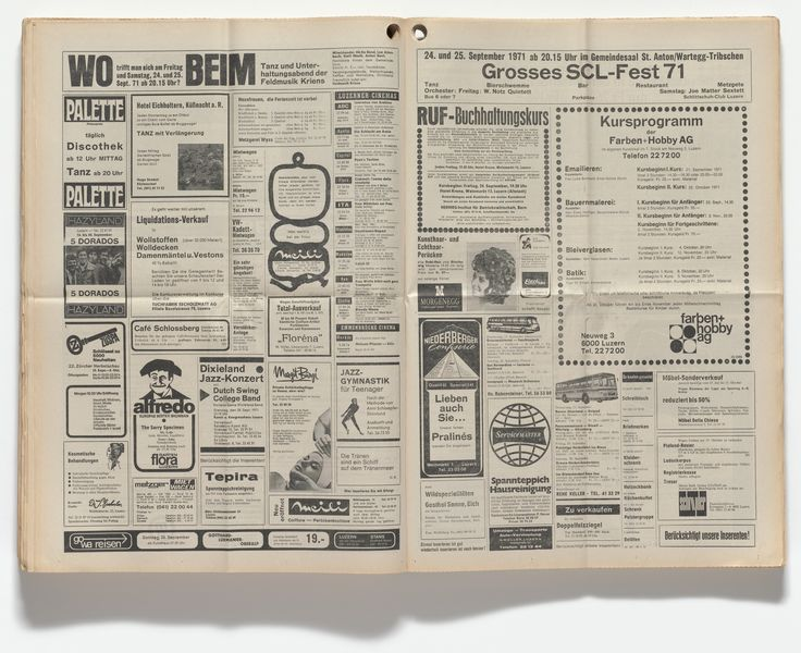 """In spring 1971 Roth began taking out small advertisements in the pages of the Luzerner Stadtanzeiger, a free pennysaver magazine in Lucerne, Switzerland. He published ambiguous aphorisms such as """"Tears are a ship on the sea of tears"""" and """"A tear is as evil as a good word."""" The statements were sparsely formatted and, save for the initials D. R., contained no clues about the artist's intentions or identity. Roth's ads ran for over a year, until the publisher terminated his contract, reportedly ..."""