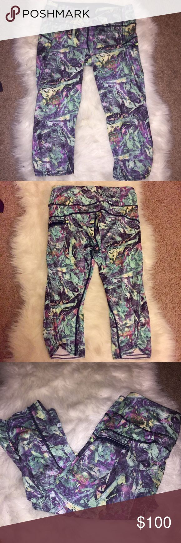 Lululemon Athletica Run Inspire Crop Pants Size 6 Lululemon Athletica Run Inspire Crop Pants. Size 6. Rare geometric mint, navy, white and purple print. NWOT. Only tried on. Perfect mint condition! lululemon athletica Pants Ankle & Cropped