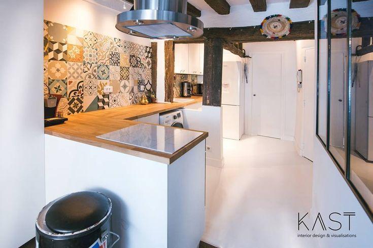 Проходная кухня в средиземноморском стиле и вытяжкой в стиле лофт.  (квартиры,апартаменты,мебель,интерьер,дизайн интерьера,эклектика,смешение стилей,средиземноморский,средиземноморский интерьер,средиземноморский дом,средиземноморский стиль,индустриальный,лофт,винтаж,стиль лофт,индустриальный стиль,1950-70е,середина 20-го века,медисенчери,медисенчери модерн,кухня,дизайн кухни,интерьер кухни,кухонная мебель,мебель для кухни) .