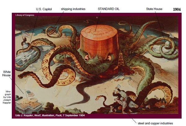 Rockefeller's Standard Oil as an octopus wrapping its ...
