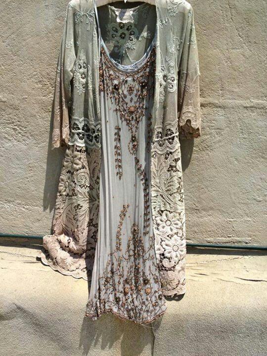 ➳➳➳☮American Hippie Bohemian Boho Bohéme Feathers Gypsy Spirit Bizu Baroque Tati Tati Style - Dress and Jacket