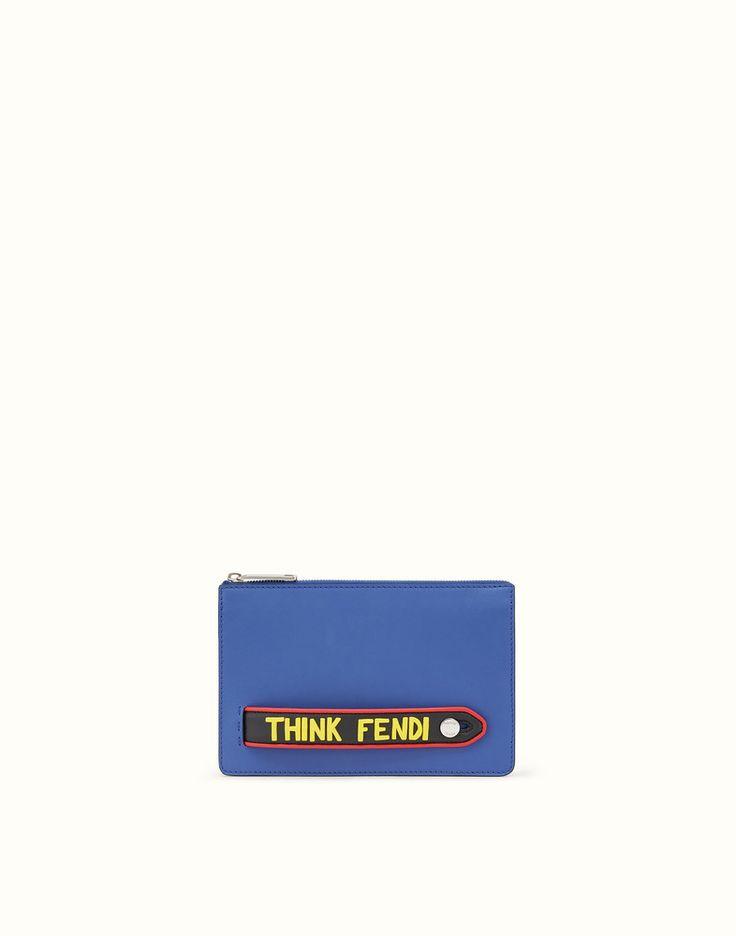 FENDI CLUTCH - Blue leather pouch - view 1 detail