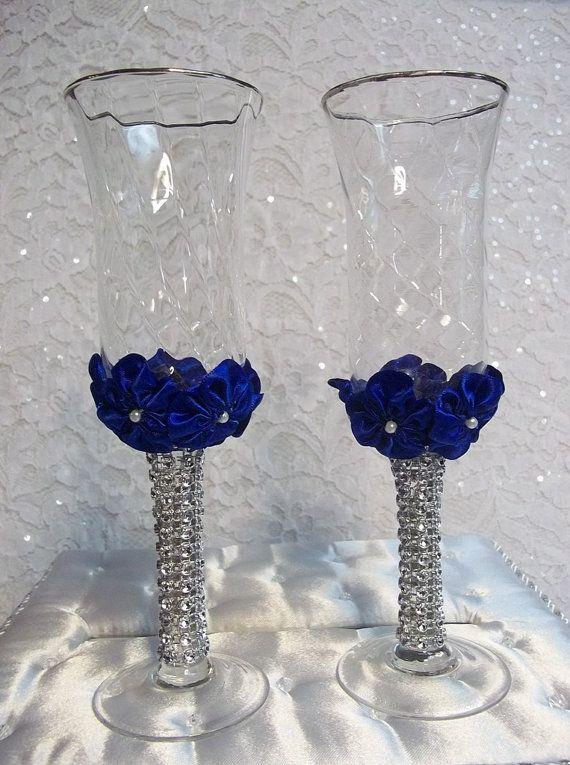 Wedding Champagne Toasting Glasses Set With Handmade Royal