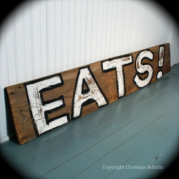 Kitchen Decor Barnwood Sign Handpainted on Reclaimed by TaylorArts