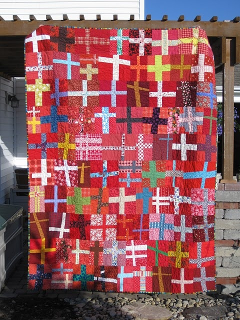 cross quilt: Crosses Quilts, Modern Crosses, Crafty Things, Crafty Fabrics, Red Cross, Red Background, Quilts Festivals, Modern Quilts, Crosses Patterns