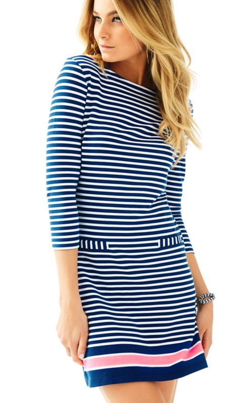 Classic is your middle name. You have your tried and true styles that you always come back to. We've got a new classic for you to dip your toe into. The Irina dress takes your go-to stripes, elevates them with some Lilly-esque details, and throws them on an effortless (no to mention flattering) shape. Move aside the wrap dress of yesteryear!