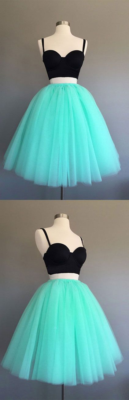 cute two pieces mint green short prom dress, homecoming dress, green dress for teens