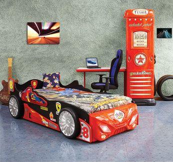 Achetez notre Lit voiture de course rouge et noir DRIVER, avec éclairage LED, sommier et matelas inclus sur votre boutique en ligne, HcommeHome.com le spécialiste du mobilier d'intérieur &