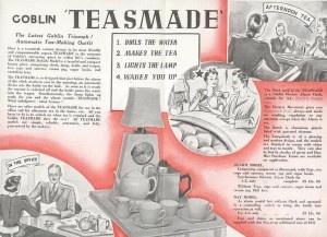 Goblin Teasmade Launch Leaflet inner spread, presented by Doug Fennell