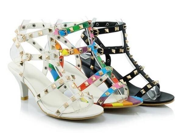 2016 new mulheres sapatos moda sapato de bico fino salto alto calçados femininos bombas arco íris rebites sandálias Zapatos Mujer sapatos de casamento em Sandálias das mulheres de Sapatos no AliExpress.com | Alibaba Group