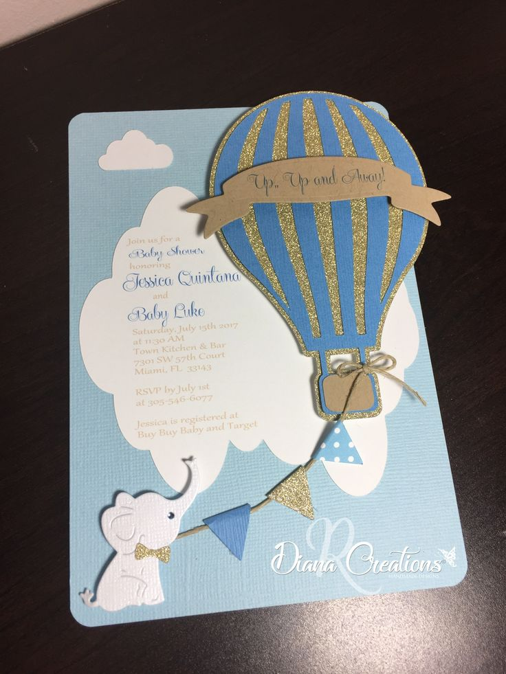boy baby shower invitations australia%0A Hot Air Balloon Baby Shower with a cute white elephant