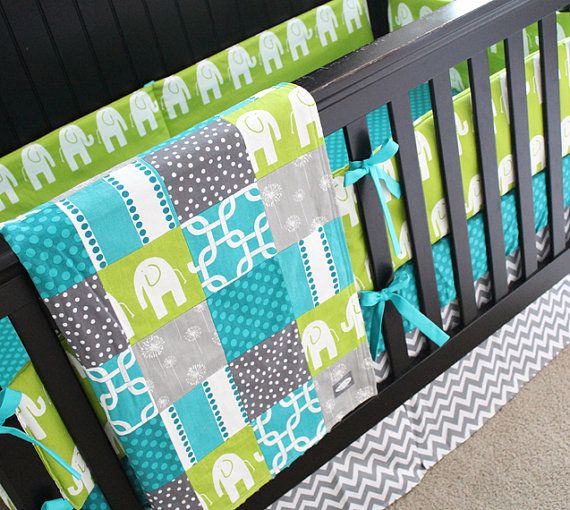 Grey Lime Green and Teal Baby Bedding Elephant by GiggleSixBaby