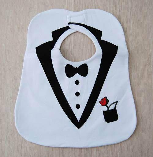 Cl1512 envío gratis blanco Tuxedo babero niño niña Unisex soft Cotton 3 capas babero impermeable, 2 unids/lote en Baberos de La madre y Los Niños en AliExpress.com | Alibaba Group
