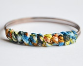 Resort fabric bangle. The Knot Collection. 2 bronze bangles hand wrapped together with bright blue and green fabric.  Small size.The Knot, Knots Collection, Fabrics Wraps, Resorts Fabrics, Diy, Fabrics Bangles, Bronze Bangles, Bangles Hands, Wraps Bangles