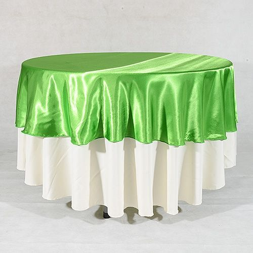 Apple Green 90 Inch #Round #Satin #Tablecloths for sale... Get the flat discount of $3.76   http://www.yourweddinglinen.com/Apple-Green-90-Inch-Round-Overlays-p/9090109.htm