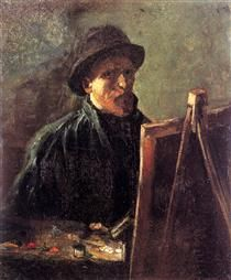 Self-Portrait with Dark Felt Hat at the Easel - Vincent van Gogh
