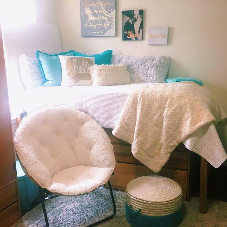 Dorm room white teal , blue, gold , comfy dorm room, college bed