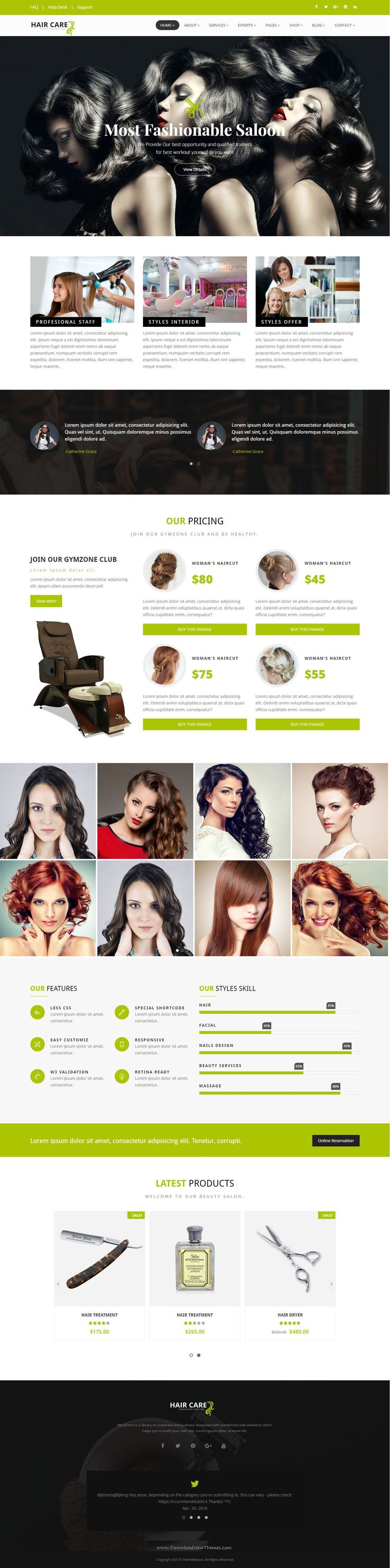HairCare Stunning Bootstrap HTML5 theme is suitable for spa, beauty, care, girly, hair, health, beauty parlous, massage, skincare, saloon, make up, #physiotherapy, salon, #wellness, yoga #website.