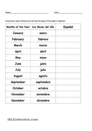 Months Of The Year In Spanish Worksheet Free Esl Printable