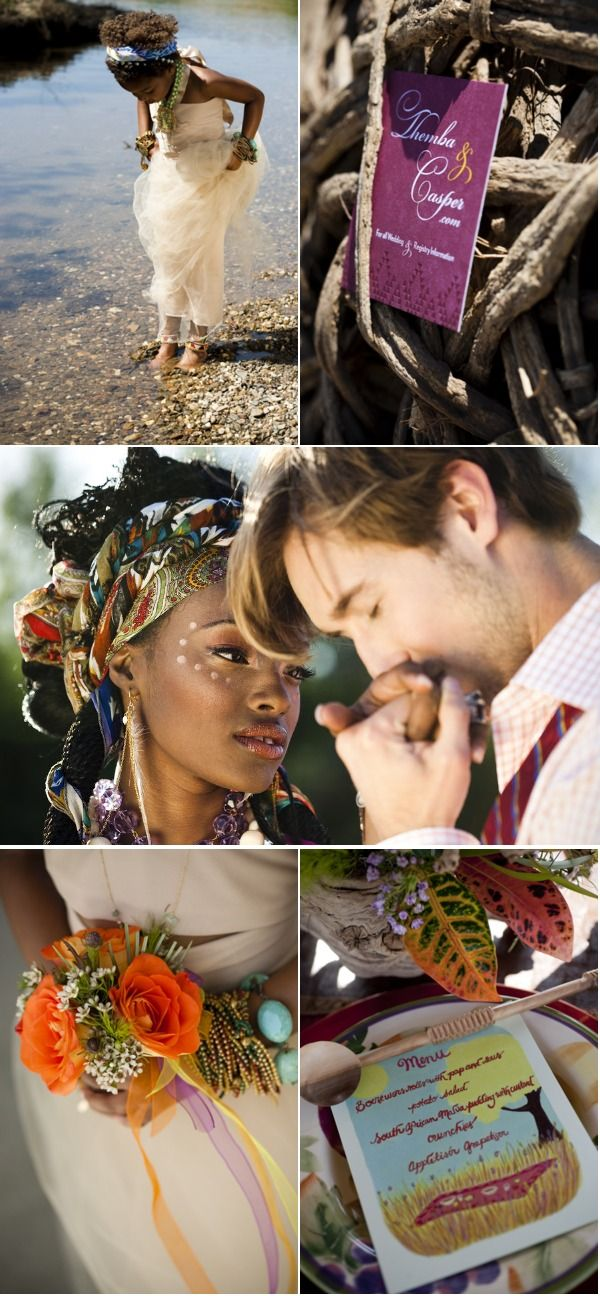 south african wedding inspiration. loving the hair scarves and makeup.