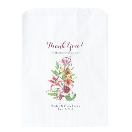 Day Lily Tiger Lily Wedding Thank You Favor Bag - summer wedding diy marriage customize personalize couple idea individuel