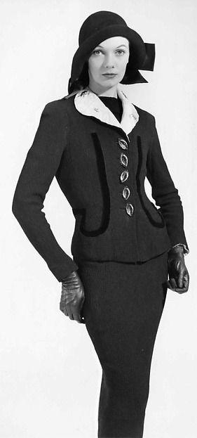 Suit Designer: Elsa Schiaparelli (Italian, 1890–1973) Date: fall 1938 Culture: French Medium: synthetic, silk
