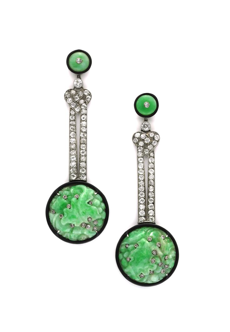 A Pair of Art Deco Jade and Diamond Ear Pendants, circa 1925. Available at FD Gallery. www.fd-inspired.com